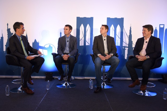 NEW YORK, NY - SEPTEMBER 29: (L-R) SVP of Marketplace Development at Rubicon Project Rev. Jay Sears, VP of Local Platform at Weather Channel Ryan Davis, Global Director of Ad Operations at Lonely Planet Tim Daugherty and Head of Sales at Kijiji Al Maitland speak onstage at the $50B Left Behind: Capturing SMB Spend panel presented by Rubicon during Advertising Week 2015 AWXII at the ADARA Stage at Times Center Hall on September 29, 2015 in New York City. (Photo by Mike Pont/Getty Images for AWXII) *** Local Caption *** Rev. Jay Sears;Ryan Davis;Tim Daugherty;Al Maitland
